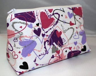 Heart Zippered Pouch / Zippered Pouch / Cosmetic Bag