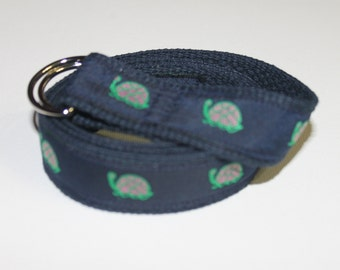 Pink and Green Preppy Turtle Belt