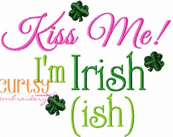 st patricks day embroidery design, st patricks day applique design, kiss me I'm Irish