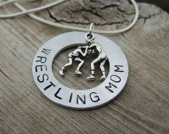 Hand Stamped Wrestling Mom Necklace, Wrestling, Custom Wrestling necklaces, Sports mom gifts, He Stands Alone, Gifts for wrestling mom