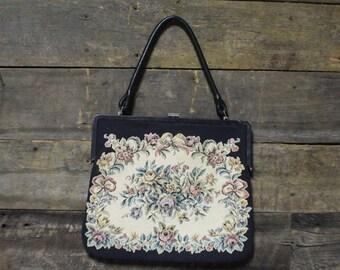 Vintage Tapestry Bag, Top Clusure Purse