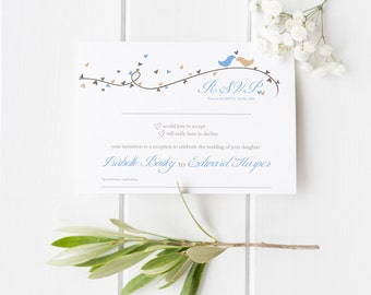 Dorethy // Love Birds and Hearts // Wedding Evening Reception RSVP // Duckegg Blue and Beige // DIY Printable File // Digital PDF File