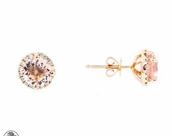 Round Morganite Earrings, Morganite Stud Earrings,  Morganites with Diamonds, Morganite Earrings With A halo, Rose Gold Morganite | EAR01731