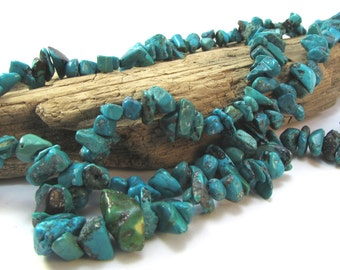 Genuine Turquoise Nugget, Medium to Large Blue-Green Turquoise Chips, 15 inch Strand, Beading Supplies, Item 1060gst