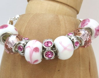 Glass Beaded Bracelet, Lampworked Glass Bracelet, 9 Pink and White Large Glass Beaded Bracelet, Add a Charm Bracelet, Item 863J