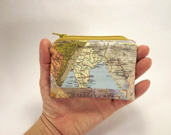 World map card wallet, coin purse, world traveler gift, zipper pouch, travel accessory, map collage, world map purse, foreign maps