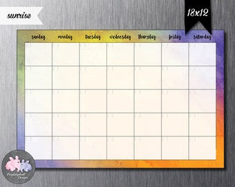 Perpetual Dry Erase Magnetic Personalized Family Calendar / Dry Erase Calendar for Fridge / Watercolor Custom Calendar w Dry Erase Marker