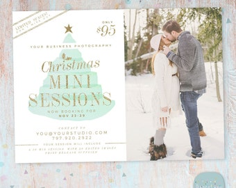 Christmas Mini Session Template - Christmas Photography Marketing - Photoshop template - IC030 - INSTANT DOWNLOAD