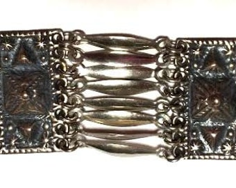 Beautiful Vintage Mexican Linked Sterling Silver Bracelet