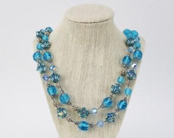 Blue Beaded Multi Strand Necklace - Vintage 1960s Vendome Necklace