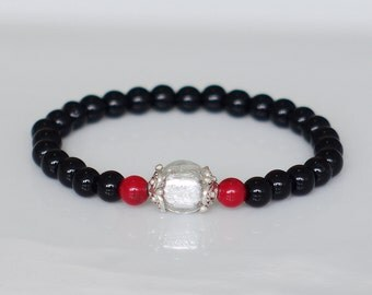 Glass beads and coral bracelet, Red and black bracelet, Murano bracelet, Casual bracelet
