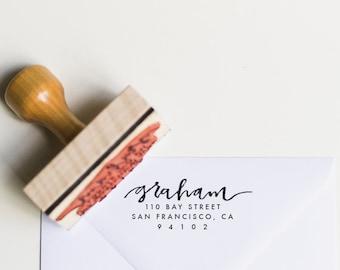 Custom Address Stamp // wooden stamp, wooden handle, hand lettered, return address, custom calligraphy, newlywed gift, housewarming gift