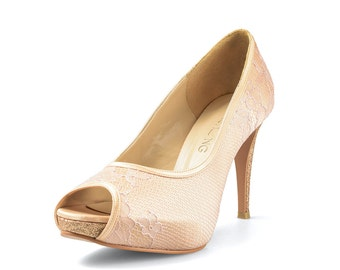Lady Diana Custom Made Gold Lace Heels, Gold Peach Lace Wedding Shoes, Gold Lace Bridal Heels, Lace Satin Wedding Heels