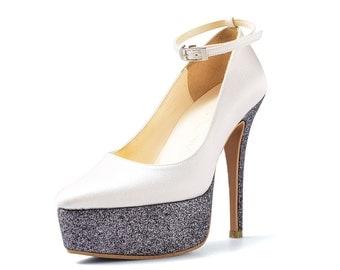 Alabaster Ivory Platform Pumps, Ivory Satin Glitter Wedding Heels, Platform Wedding Heels, Ivory Gun Metal Glitter Pumps