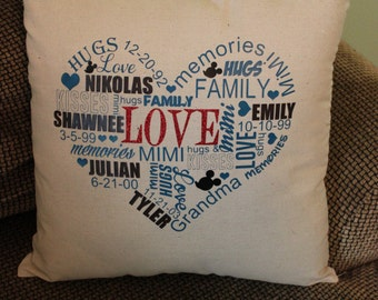 Personalized Pillow Case/Cover Love Subway Art