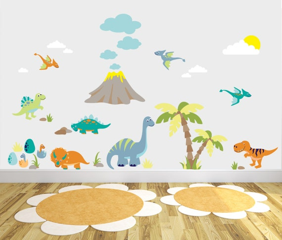 Items similar to dinosaurs decals baby boy wall stickers for Dinosaur wall mural uk