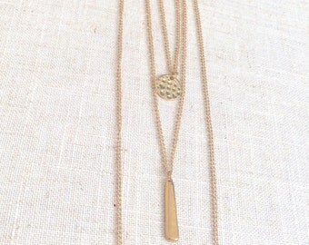 3 layered necklace, gold layered necklace, silver layered necklace