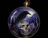 """Necklace of a Painting of mine Entitled - """"The Raven and the Skull"""""""