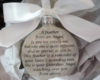 "SISTER Memorial Christmas Ornament Gift - ""A Feather From a Guardian Angel"" Sympathy In Memory - Personalized w/ Name - Custom Keepsake"