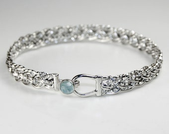 Handmade 925 Sterling Silver Eight Strand Basket Weave Bracelet with Hook Clasp Set with Faceted Aquamarine Cabochon, Woven, Braided