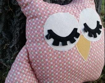 Handmade vintage fabric stuffed pink owl toy
