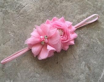 Light pink headband, newborn headband, baby headband, baby girl headband , flower headband, shabby chic flower, light pink flower headband