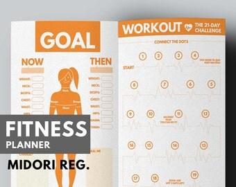 Fitness Planner Midori insert Printable, Fitness Journal Midori Refill, Health Planner, Fitness Insert, Fitness Midori Traveler's notebook