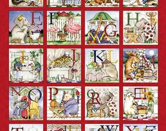 Hungry Animal Alphabet Fabric Panel