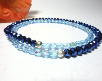 Pearl bracelet filigree thin filigree Beads Bracelet fire polished glass beads blue light blue
