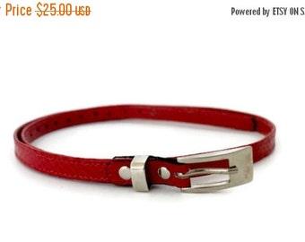 ON SALE Red leather belt women , Women's leather belt , Skinny leather belt