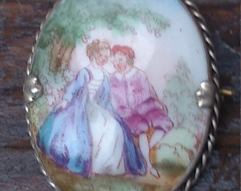 vintage china painted brooch