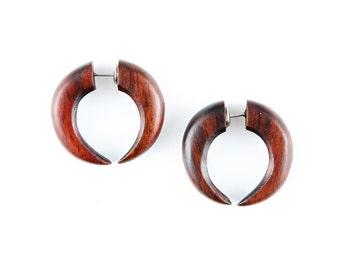 Cresent..Fake Gauges, Handmade, Wood Earrings, Cheaters, Organic, Plugs, Split, Tribal Style