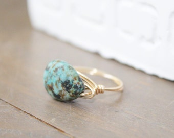 African Turquoise Teardrop Gold Wire Wrapped Ring | Anti Tarnish Wire Ring