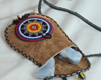 Leather Pouch  Medicine Bag Hand Beaded leather pouch Native American Style