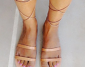 GENUINE GREEK LEATHER sandals lace