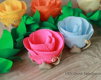 10 Small Rustic Flowers, Rustic Rose Centerpiece, Wedding Table Decorations, Rustic Wedding Favors, Paper Roses, Rustic Flower Centerpiece