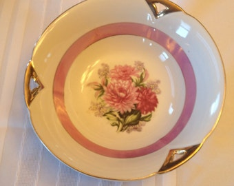 Free Shipping Serving Bowl Vintage Pink Peonies Pattern Gold Trim