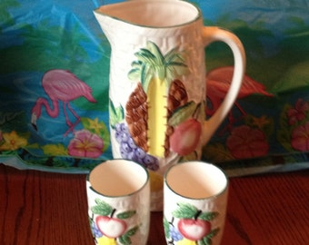 Free Shipping Vintage Tropical Japan Ceramic Basketweave Hand Painted Fruit Design Pottery Pitcher Juice Glass Pair Signed
