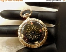 Sale Vintage Rare Caravelle Open Face Manual Wind Up Ladies Pocket Watch