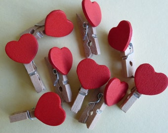 Heart pegs.  Red heart mini pegs.  Cardmaking, scrapbooking.   Set of 12  Size 27mmx16mm