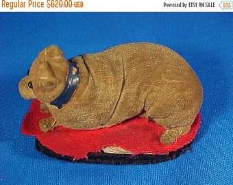 SALE Antique Late 19th c. Miniature Velvet Dog Penwipe, Very Small Size