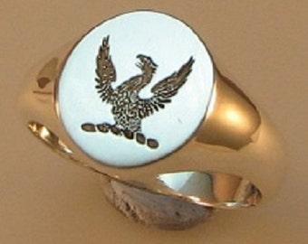 flying griffin sterling silver signet ring size V 1/4