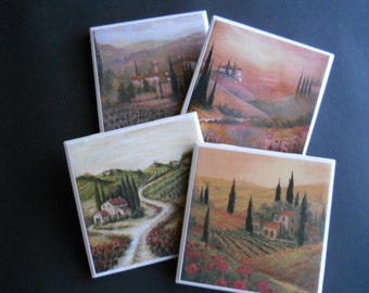 Tuscan Landscapes ~ Tuscany Italy ~ Ceramic Tile Coasters ~ Home Decor ~ Decorative Tiles ~ Housewarming Gift ~ Drink Coasters ~ Shower Gift