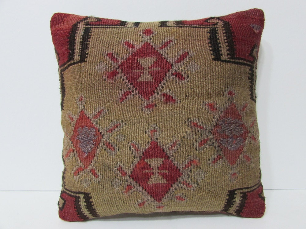 red decorative pillow 16x16 beige throw by DECOLICKILIMPILLOWS