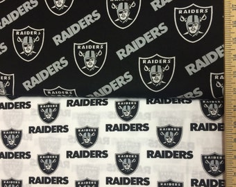 Oakland Raiders White & Black NFL Logo Cotton Fabric by Fabric Traditions! [Choose Your Cut Size]