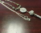 Handmade Labradorite Tassel Pendant-,Gray Necklace,Long Boho Tassel Necklace