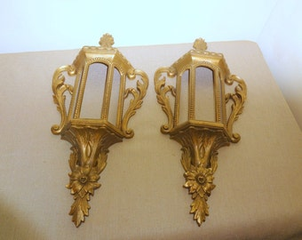 Two Vintage Retro Mid-Century 1970's Burwood Gold Color Plastic Wall Hangings Decorators 585-1 A B
