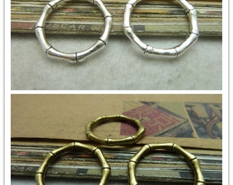 30PCS 22-17mm Antique Bronze Antique Silver Bamboo Finger Rings Jewelry Findings AC7287