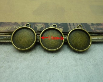 50pcs Antique Bronze Double-sided 14mm Round Bezel Cup Cabochon/ Cameo Mountings AC6135
