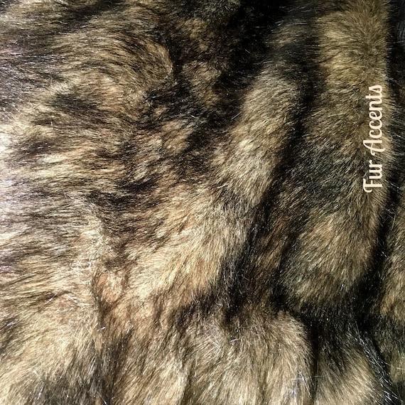Faux fur fabric black tip brown tan wolf pelt shaggy fun fur like this item sciox Images